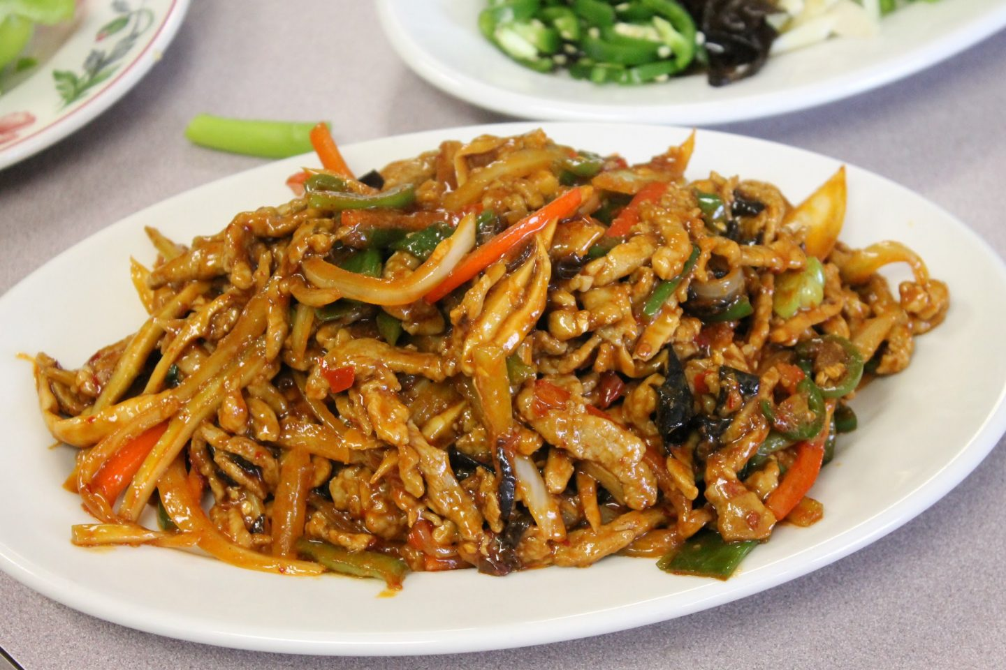 Plate filled with asian noodle dish