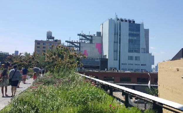 people walking trough High Line park